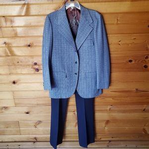1970s Allen Knit-Pickers Blue & White Leisure Suit